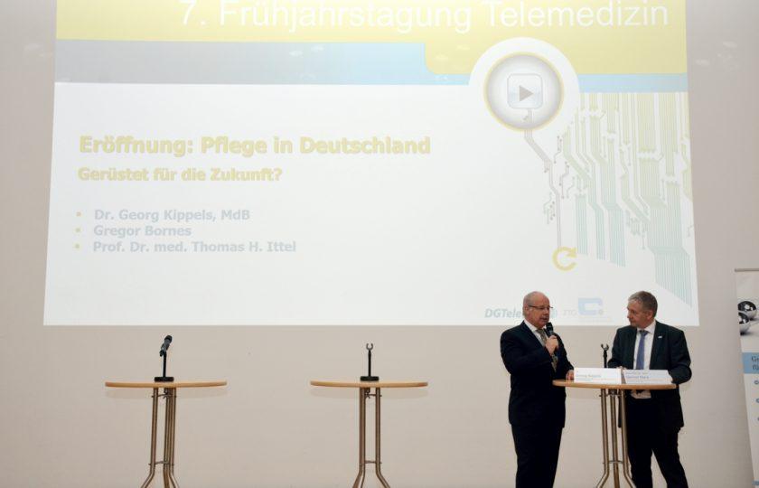 Dr. Georg Kippels, Bundestagsabgeordneter (CDU/CSU-Bundestagsfraktion) und Mitglied im Ausschuss für Gesundheit, im Gespräch mit Univ. Prof. Dr. med. Gernot Marx, FRCA, DGTelemed.