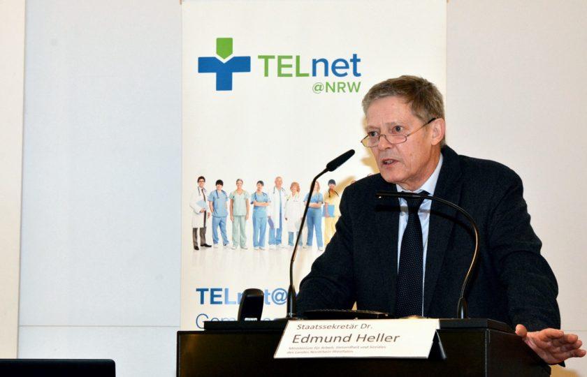 Dr. Edmund Heller, Staatssekretär im Ministerium für Arbeit, Gesundheit und Soziales des Landes Nordrhein-Westfalen, eröffnete den TELnet@NRW-Kongress 2020.