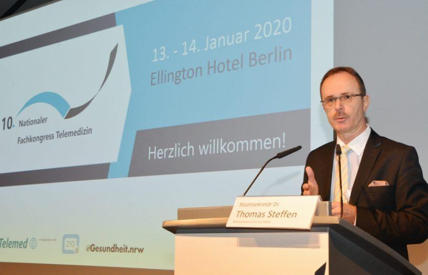 Staatssekretär Dr. Thomas Steffen, Bundesministerium für Gesundheit, eröffnete den 10. Nationalen Fachkongress Telemedizin in Berlin.